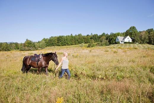 Caucasian woman leading horse through field : Stock Photo