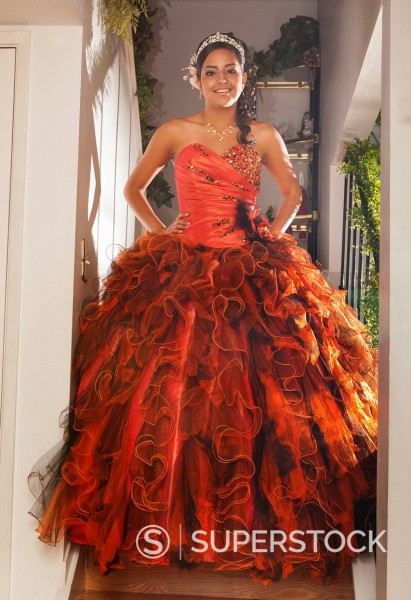 Stock Photo: 1589-148715 Hispanic teenager dressed for quinceanera