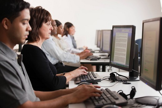 Students learning in computer lab : Stock Photo