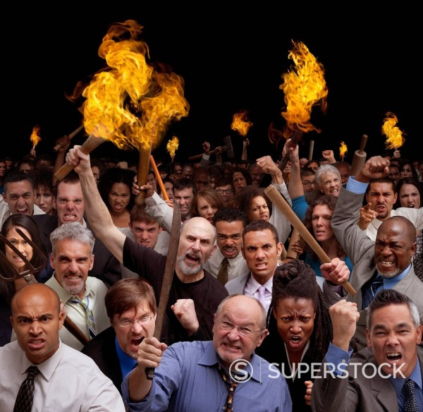 Stock Photo: 1589-154973 Angry crowd carrying torches