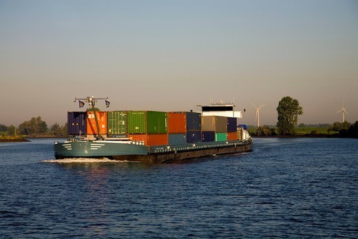 Freight containers on barge : Stock Photo