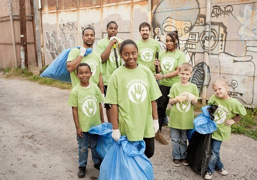 Volunteers picking up litter : Stock Photo