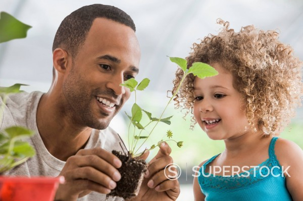 Father and daughter gardening together : Stock Photo