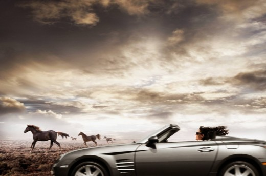 Hispanic woman driving convertible next to wild horses : Stock Photo