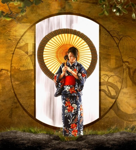 Asian woman in geisha dress holding parasol : Stock Photo