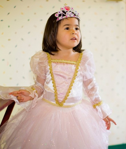 Asian girl dressing up in princess costume : Stock Photo