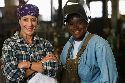 Portrait of female warehouse workers : Stock Photo