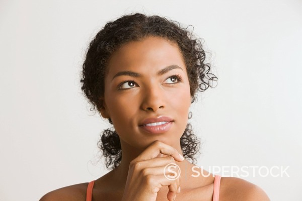 Stock Photo: 1589-74075 African woman thinking