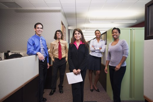 Stock Photo: 1589R-01263 Portrait of a group of business executives standing together