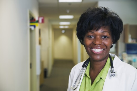 Stock Photo: 1589R-01333 Portrait of a female doctor smiling
