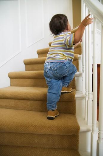 Baby boy walking up stairs : Stock Photo