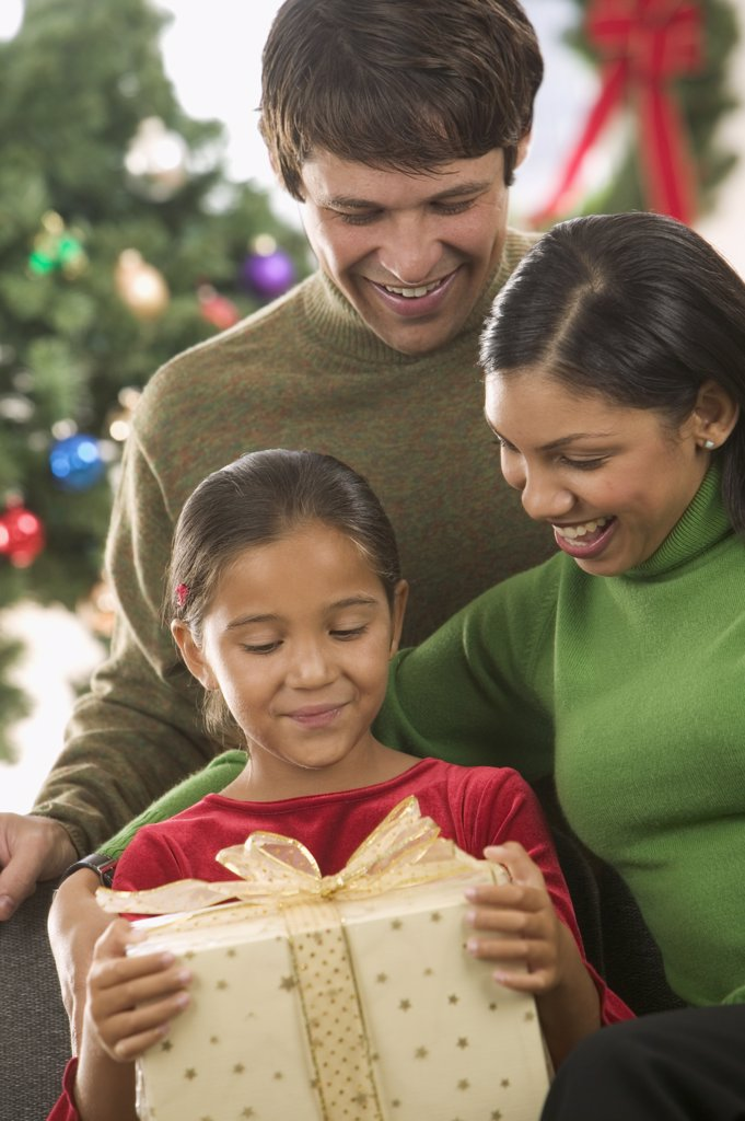 Stock Photo: 1589R-05156 Young couple and their child holding a gift with a Christmas tree in the background