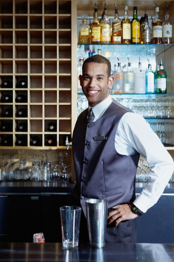 Stock Photo: 1589R-06559 Portrait of a bartender smiling