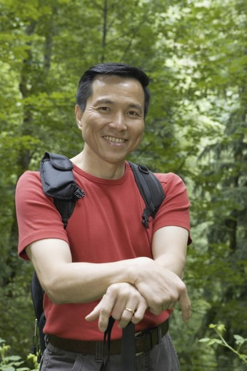Portrait of mature man hiking : Stock Photo
