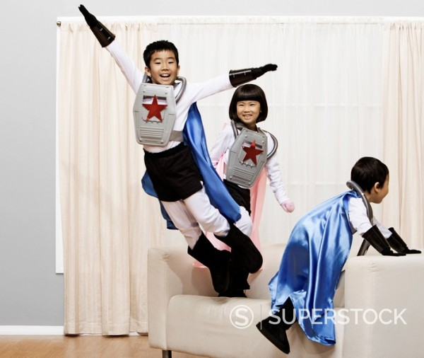 Stock Photo: 1589R-131675 Korean children in superhero costumes