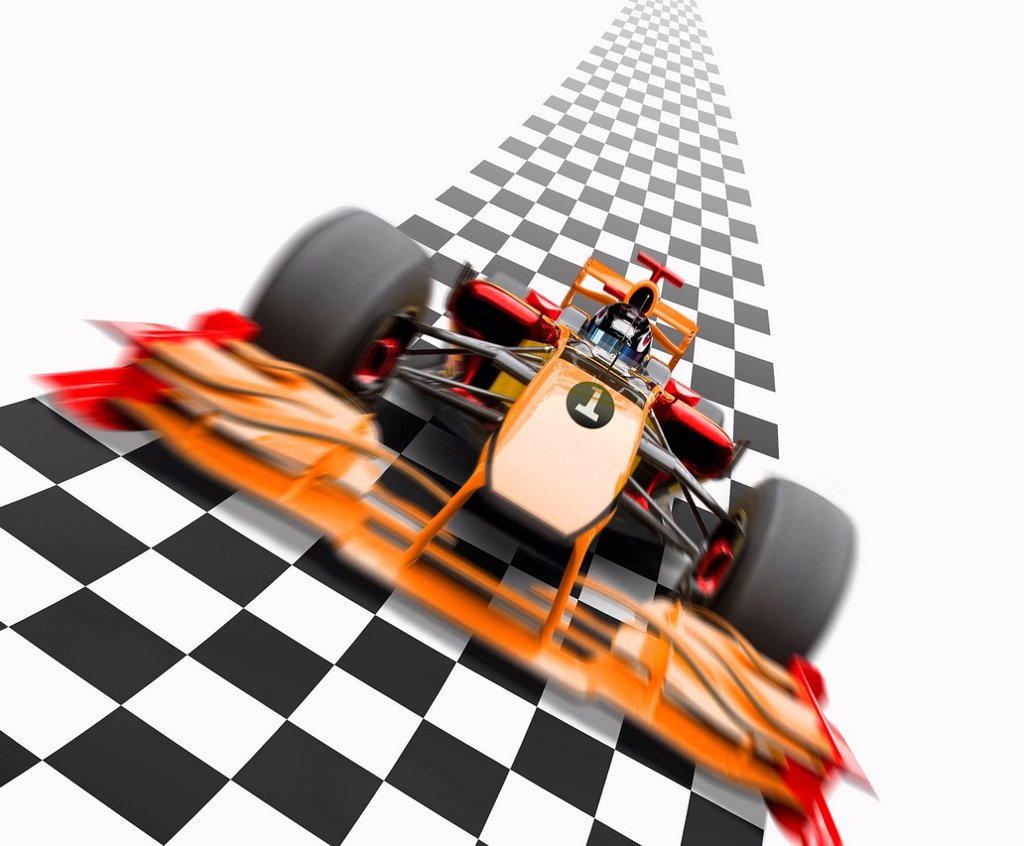Stock Photo: 1589R-134793 Orange race car driving on checkerboard road