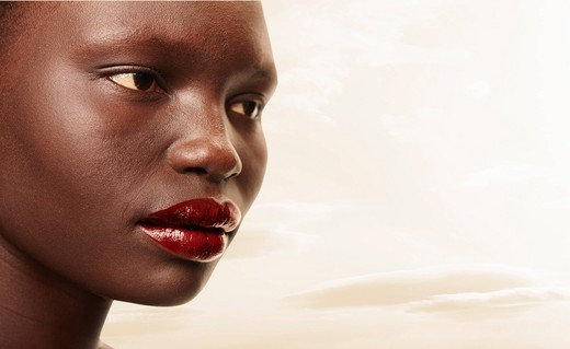 Stock Photo: 1589R-136803 Serious Black woman in red lipstick