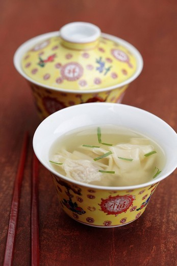 Close up of won ton soup : Stock Photo