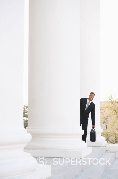 African American businessman at courthouse : Stock Photo