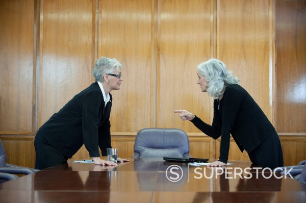 Stock Photo: 1589R-139166 Caucasian businesswoman arguing in conference room