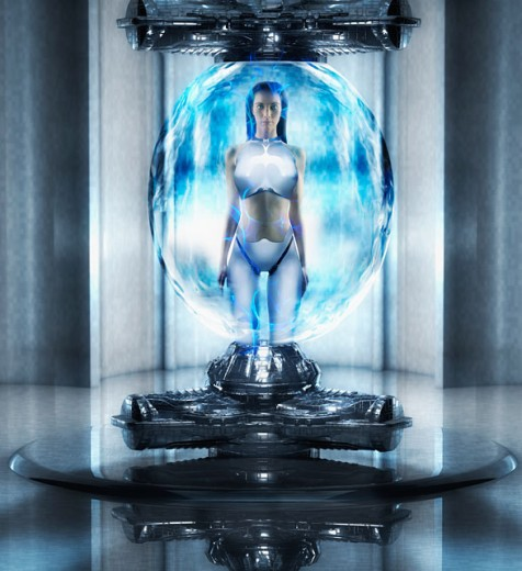 Woman as android standing in orb : Stock Photo