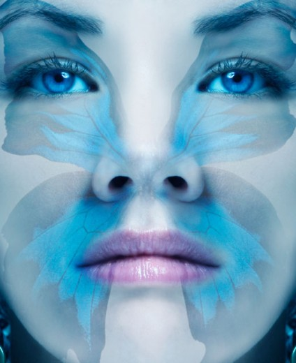 Close up digital composite of woman's face : Stock Photo