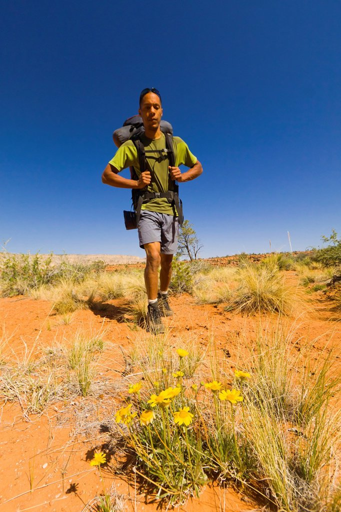 Black man hiking in desert : Stock Photo