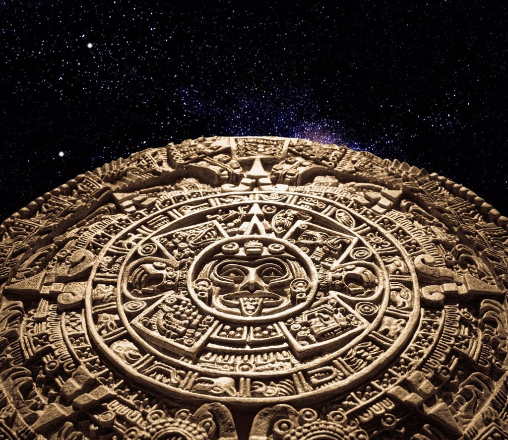 Aztec calendar stone carving in space : Stock Photo