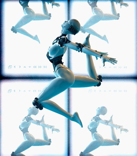 Robot with highly advanced movement abilities : Stock Photo