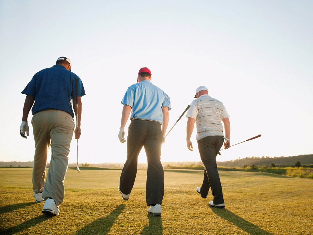 Golfers walking together on golf course : Stock Photo
