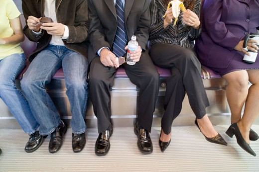People commuting on subway : Stock Photo