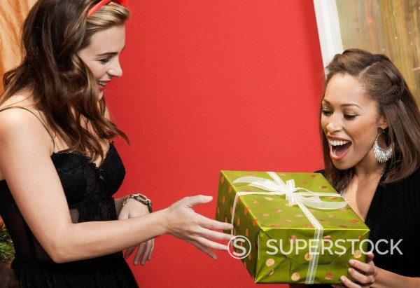 Stock Photo: 1589R-146812 Friends exchanging Christmas gift