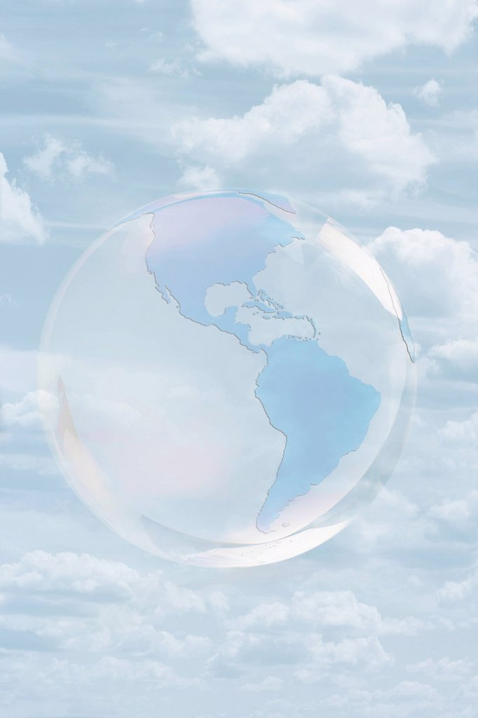 Stock Photo: 1589R-147788 Transparent globe floating in sky