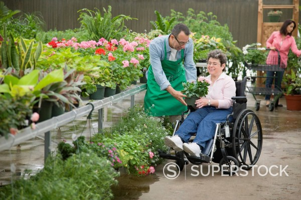Stock Photo: 1589R-147878 Florist helping customer seated in wheelchair