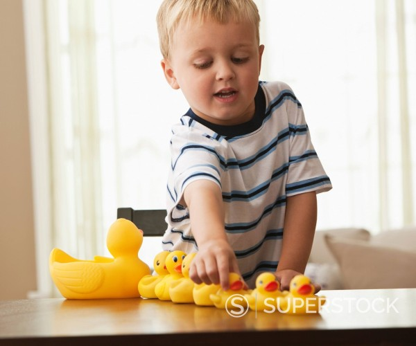 Stock Photo: 1589R-150053 Caucasian boy playing with rubber ducks