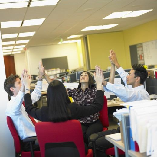 Stock Photo: 1589R-15048 Business people meditating in office
