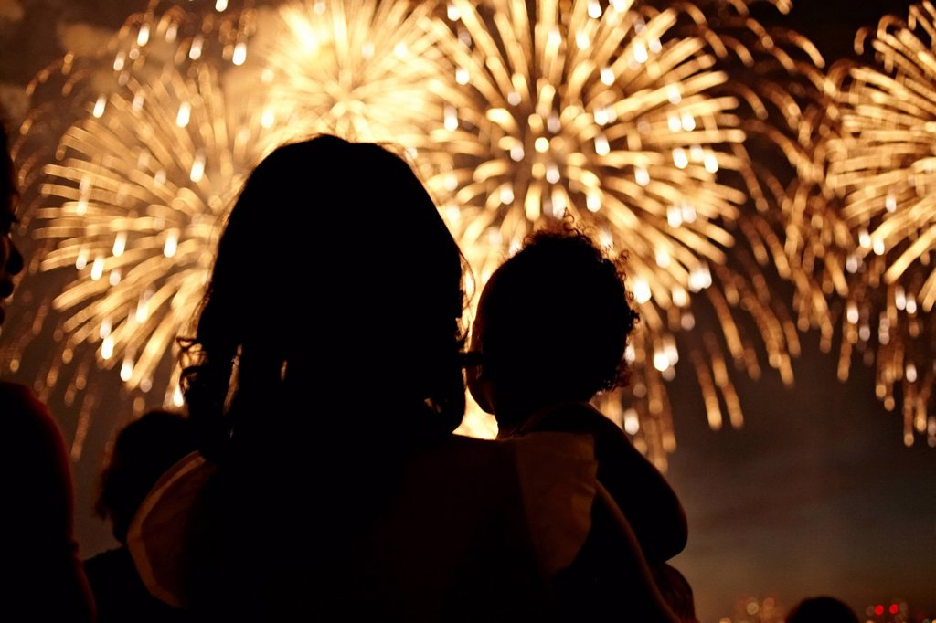 Stock Photo: 1589R-151664 Silhouette of mother and daughter watching fireworks