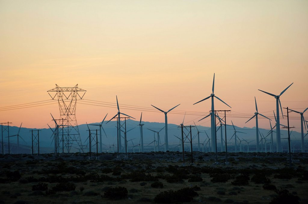 Stock Photo: 1589R-153623 Wind farm in desert at sunset