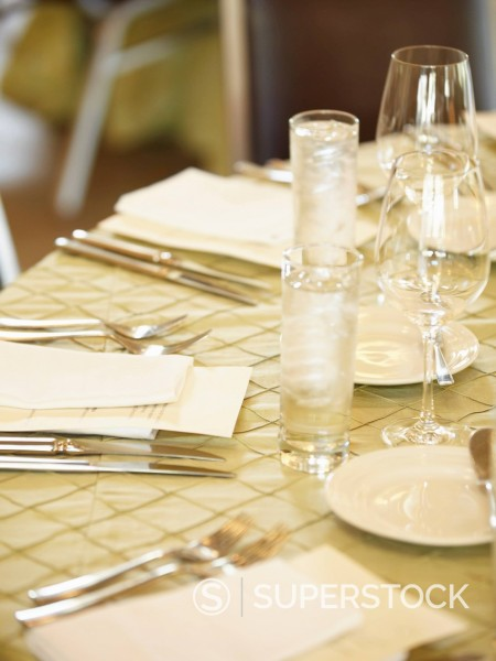 Stock Photo: 1589R-154154 Elegant table placesetting
