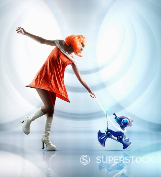 Stock Photo: 1589R-156652 Futuristic Pacific Islander woman walking robot dog