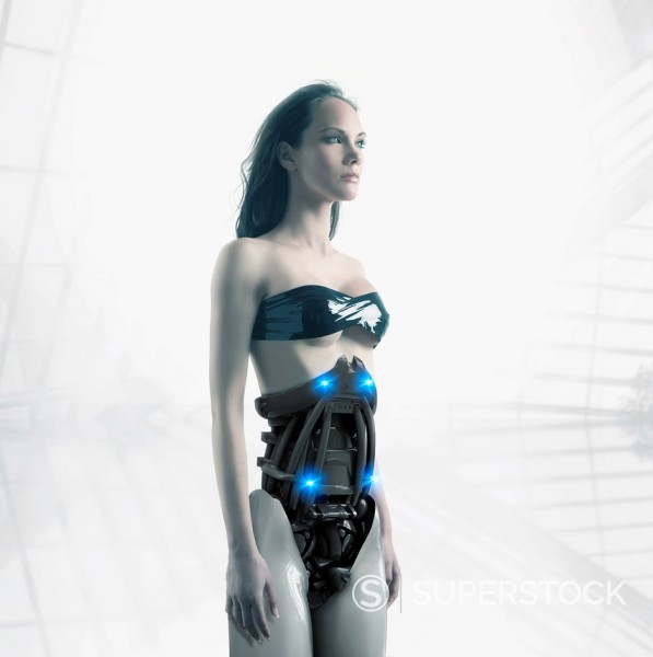 Futuristic Pacific Islander woman with robotic torso : Stock Photo