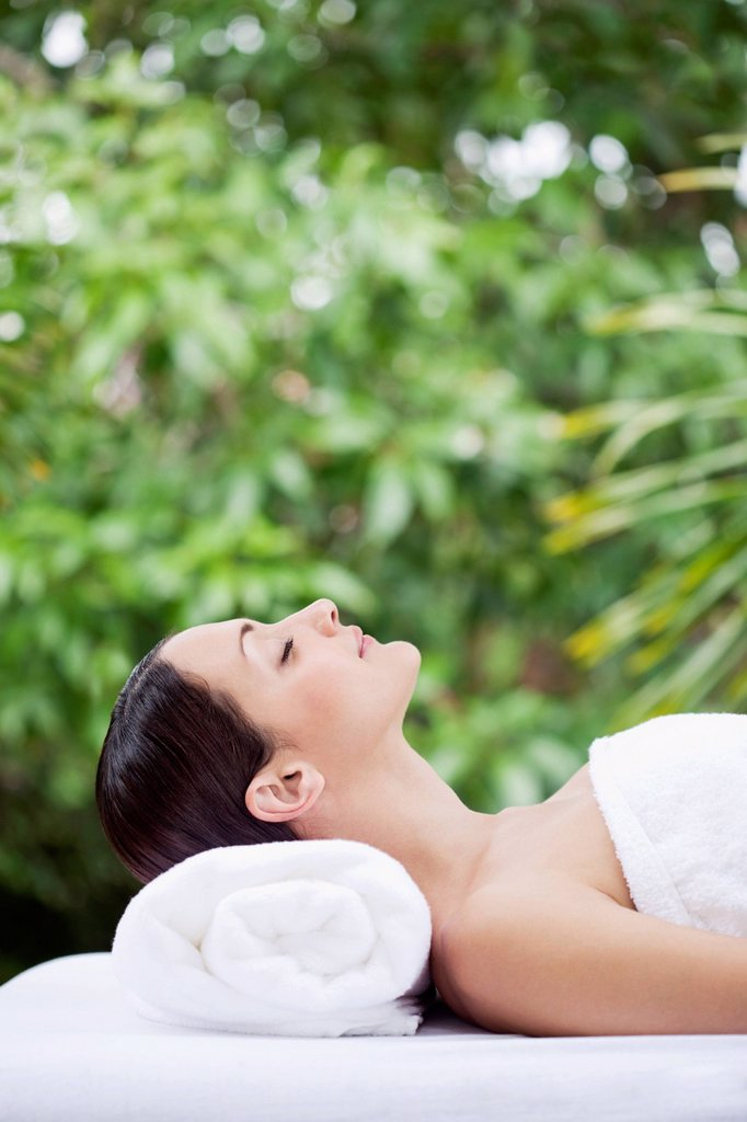 Caucasian woman waiting for spa treatment : Stock Photo