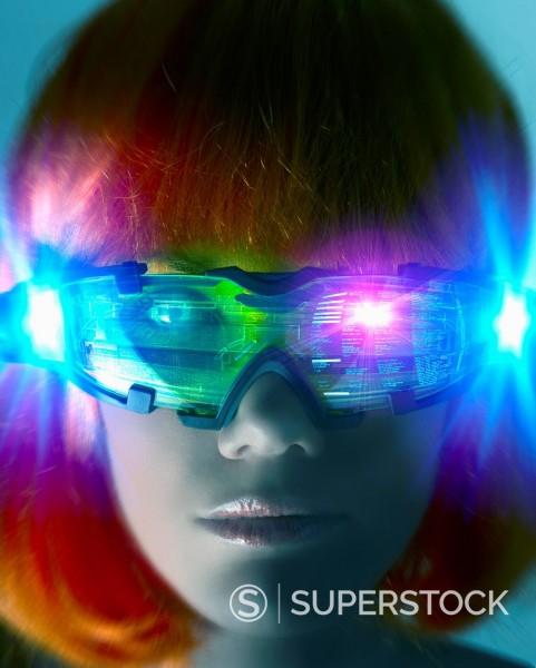 Stock Photo: 1589R-160759 Futuristic Pacific Islander woman wearing digital eyeglasses