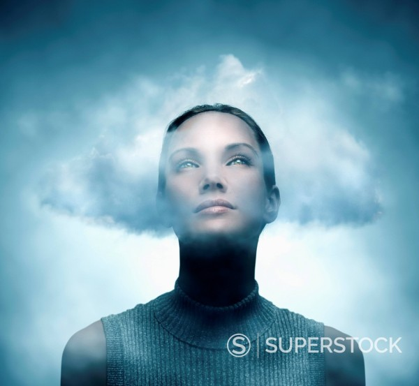 Stock Photo: 1589R-160856 Pacific Islander woman with her head in the clouds