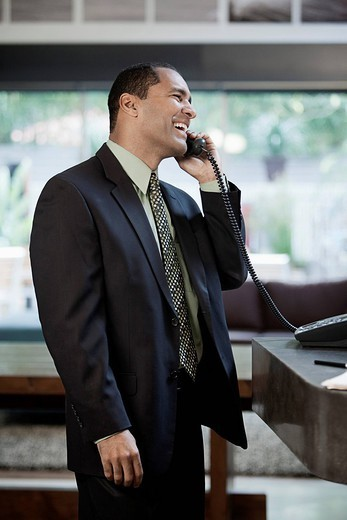 Mixed race businessman talking on telephone : Stock Photo
