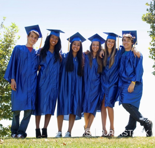 Stock Photo: 1589R-166553 Graduates standing together