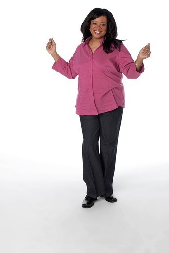 Smiling overweight woman with arms outstretched : Stock Photo