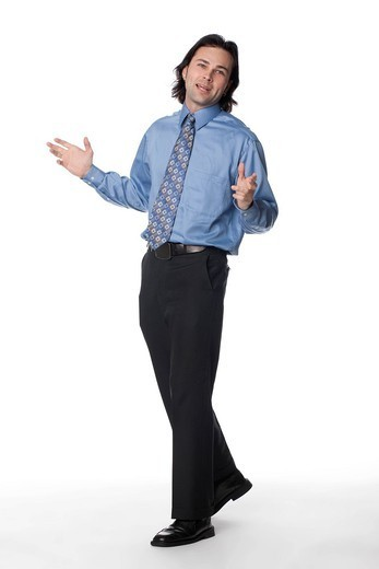 Caucasian businessman with arms outstretched : Stock Photo