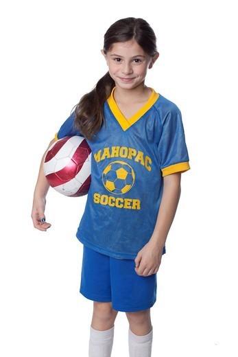 Stock Photo: 1589R-167533 Caucasian girl holding soccer ball