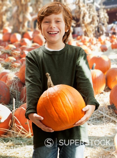 Stock Photo: 1589R-168782 Caucasian boy holding pumpkin